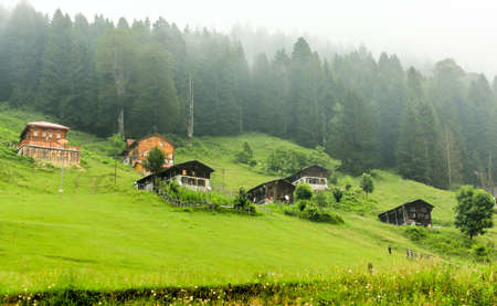 inspiration view of mountain houses in Ayder Plateau, Rize, Turkey.