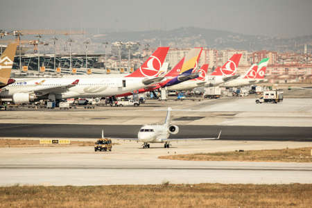 Plane preparing take off at Ataturk Airport