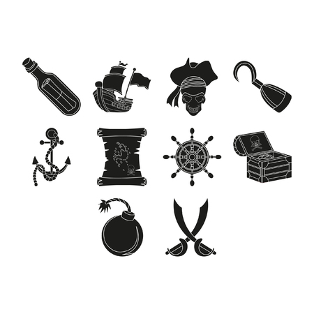 Creative pirates icons set.