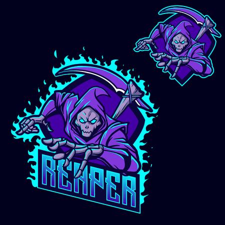 modello di logo mascotte di gioco esport ninja grim reaper Logo