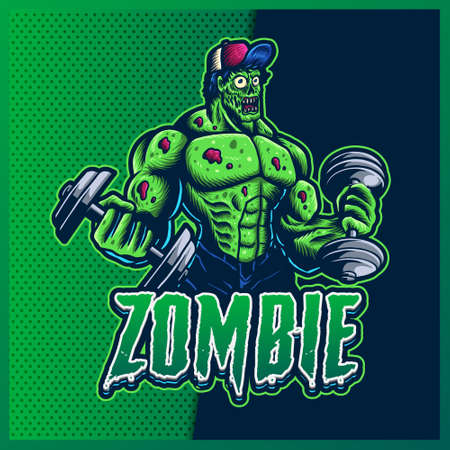 Zombie Gym esport and sport mascot logo design with modern illustration concept for team, badge, emblem and t-shirt printing. Green Zombie illustration on isolated background. Premium Vector