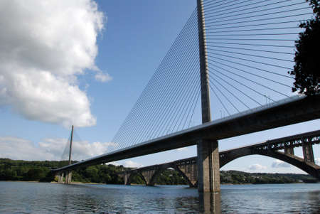 brest: Old an new bridge Plougastel in Brest, Brittany.