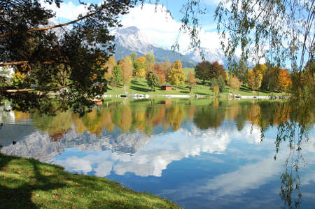 Beautiful reflection of austrian alps in lake called Ritzensee Stock Photo - 7611801