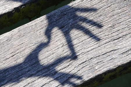 forme: Ombre de mains formant le coeur sur des planches en bois. Banque d'images