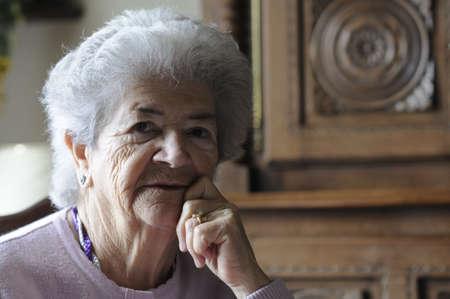 Sad senior woman (83 Years old) thinking about life. Stock Photo