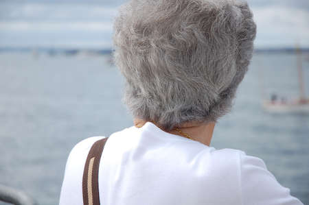 woman back of head: Grey haired senior woman looking at the atlantic ocean Stock Photo