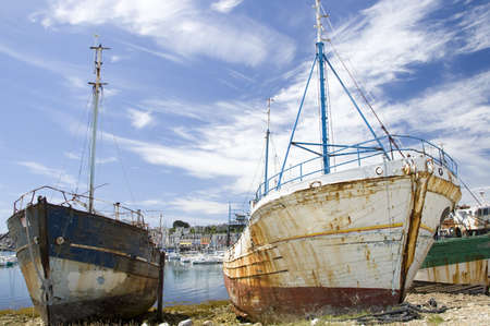 Shipwrecks at the harbor of Camaret-sur-mer in Brittany, France photo