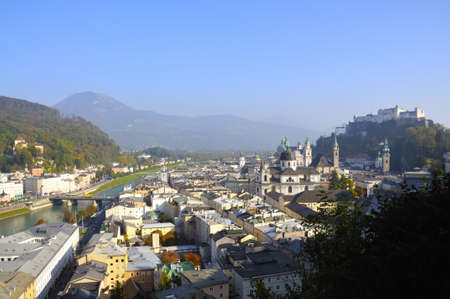 View on the old town of Salzburg in Austria photo