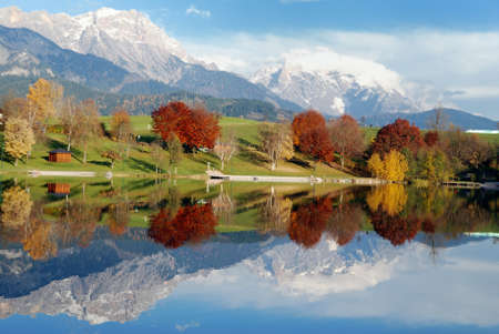 saalfelden: Lake Ritzensee in austria on a beautiful autumn day