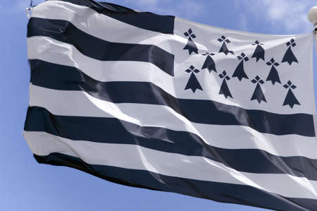 Shot of the flag of Brittany in France