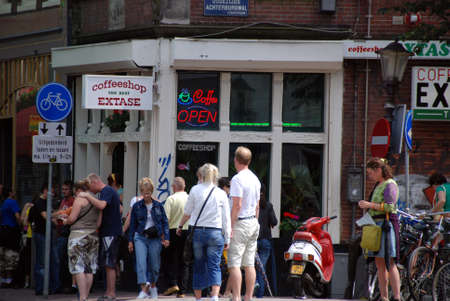 establishments: AMSTERDAM, NETHERLANDS - SEPTEMBER 2007. Coffee shop in Amsterdam. offeeshops are establishments in the Netherlands where the sale of cannabis for personal consumption by the public is tolerated by the local authorities.
