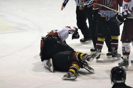 bodycheck: Fight between Gollackner and Hahn. Game SV Schuettdorf vs Devils Salzburg  (Result 2-13) on November 28, 2010, at the hockey rink of Zell am See