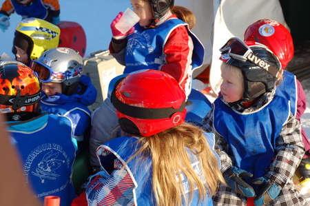 ZELL AM SEE, AUSTRIA - DECEMBER 22: 3-5 year old children resting at Ski school in Zell am See, Austria. Austrian ski schools are famous for the training plans, that guarantees the safety of about 10 million ski drivers on austrian ski areas per year.