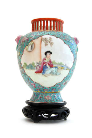 Vintage hand painted chinese vase isolated on white background. photo