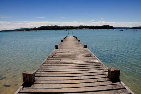 landing stage: Wooden landing stage in Brittany, France Stock Photo