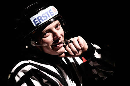 zell am see: ZELL AM SEE, AUSTRIA - FEB 1: Austrian National League. Referee Roland Altersberger during light out break. Game EK Zell am See vs. ATSE Graz (Result 4-1) on February 1, 2011, at hockey rink of Zell am See