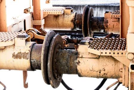 Closeup of old rusty rail transport buffer photo