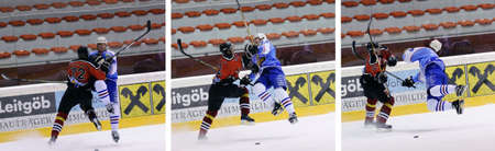 ZELL AM SEE, AUSTRIA - FEB 13: Salzburg hockey League. Markus Ralser crosschecks Morzg player an get ejected from the game. Game SV Schuttdorf vs HCS Morzg  (Result 9-3) on February 13, 2011 at the hockey rink of Zell am See