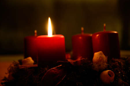 advent candles: Candles burning on advent wreath