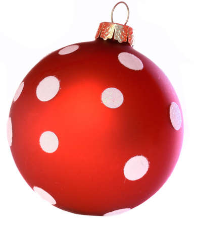 Red christmas ball isolated over white background. photo