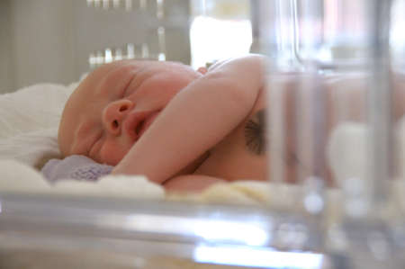 New born baby lying in incubator in hospital Stock Photo - 9333874