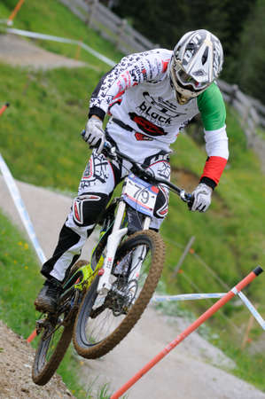 LEOGANG, AUSTRIA - JUN 12: UCI Mountain bike world cup. Lorenzo Suding (ITA) at the downhill final race on June 12, 2011 in Leogang, Austria.
