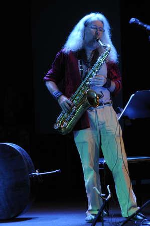 saalfelden: SAALFELDEN, AUSTRIA - AUG 28: Markus Stauss of the Band TZGIV performing at Jazzfestival Saalfelden at Congresscenter Saalfelden, Austria.  Editorial