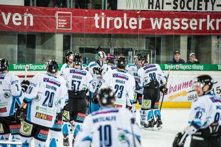 28.12.2012, Tiroler Wasserkraft Arena, Innsbruck, AUT, EBEL, HC TWK Innsbruck vs SAPA Fehervar AV19, 35. Runde, im Bild Siegesjubel von Alba Volan  during the Erste Bank Icehockey League 35th Round match between HC TWK Innsbruck and SAPA Fehervar AV19 a