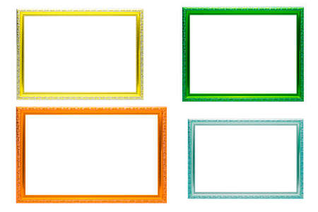 Set of colorful frames vintage style isolated on white background.