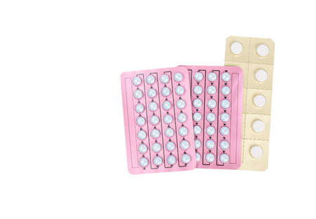 oral cancer: Hormone pills for treatment menopausal woman on white background with copy space. Hormone replacement therapy concept.