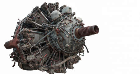 9 cylinder Radial Engine of old airplane isolated on white background Stock Photo