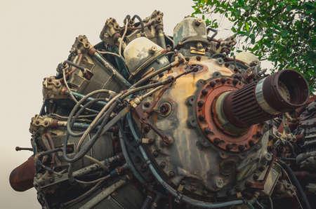 9 cylinder Radial Engine of old airplane,Vintage style