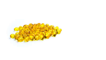 Pile of cod liver oil isolated on white background. Source of Omega-3 and vitamin A & D helps growth development and absorption of calcium and phosphorous in the body