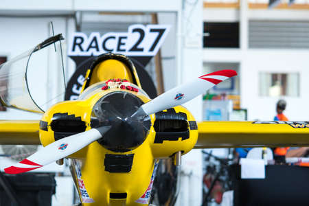 RAYONG, THAILAND-NOVEMBER 18, 2017 : Kent Jasksons plane no.27 Once More aircraft model Cassutt III-M in Air Race 1 World Cup Thailand 2017 at U-Tapao Naval Air Base in Thailand