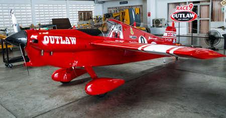 RAYONG, THAILAND-NOVEMBER 18, 2017 : Scott Holmesss plane no.9 Outlaw aircraft model Cassutt III-M in Air Race 1 World Cup Thailand 2017 at U-Tapao Naval Air Base in Thailand Editorial