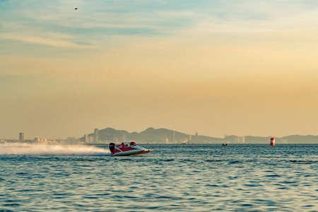 CHONBURI, THAILAND-NOVEMBER 25, 2017 :   boat with beautiful sky and sea in Bangsaen Power Boat 2017 at Bangsaen beach in Thailand Editorial