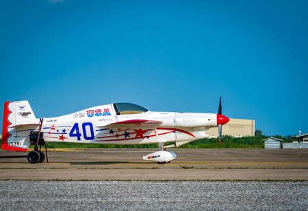 RAYONG, THAILAND-NOVEMBER 18, 2017 : Chip Mapoless plane no.40 Miss USA aircraft model Cassutt Slipknot in Air Race 1 World Cup Thailand 2017 at U-Tapao Naval Air Base in Thailand Editorial