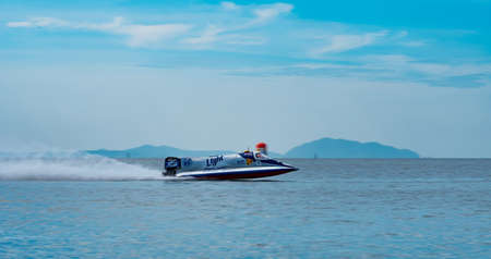 CHONBURI, THAILAND-NOVEMBER 26, 2017 : F1 boat in Bangsaen Power Boat 2017 at Bangsaen beach in Thailand