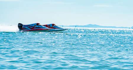 CHONBURI, THAILAND-NOVEMBER 26, 2017 : F3 boat with beautiful sky and sea in Bangsaen Power Boat 2017 at Bangsaen beach in Thailand Editorial