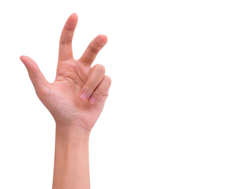 Close-up of Asian man hand gesturing isolated on white background with clipping path