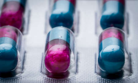 Selective focus of blue, pink capsule with granule in side pills. Pills in blister pack. Pharmaceutical dosage form and packaging. Itraconazole 100 mg : Anti-fungal medicine.