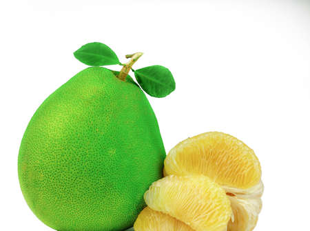 Pomelo pulp without seeds isolated on white background. Thailand pomelo fruit. Natural source of vitamin C and potassium. Healthy food for slow down aging. Food drug interactions. Citrus fruit.