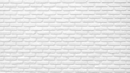 White brick wall texture background with space for text. White bricks wallpaper. Home interior decoration. Architecture concept