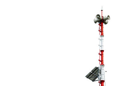 Tsunami Warning System. Broadcast tower with solar panels. Pole of Tsunami warning system at beach. Tsunami siren warning loudspeakers. Hall alarms Coast. Disaster warning technology. Horn speaker.