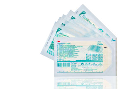 CHONBURI, THAILAND-OCTOBER 27, 2018 : Tegaderm Pad film dressing with non-adherent pad. Sterile dressings for first aid. Waterproof and breathable film. Thin film transparent dressing. Medical supply.