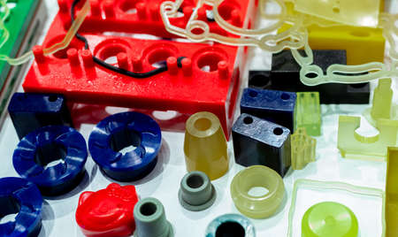 Engineering plastics. Plastic material used in manufacturing industry. Global engineering plastic market concept. Polyurethane and abs plastic parts materials. Plastic injection machine products. Reklamní fotografie