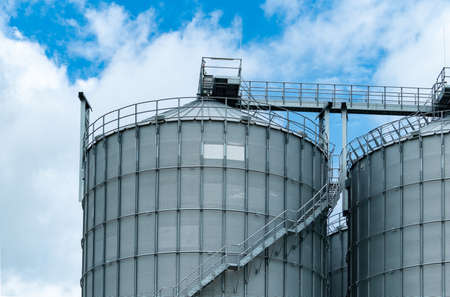 Agricultural silo at feed mill factory. Big tank for store grain in feed manufacturing. Seed stock tower for animal feed production. Commercial feed for livestock, swine and fish industries.