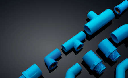 Set of blue PVC pipe fittings isolated on dark background. Blue plastic water pipe. PVC accessories for plumbing. Plumber equipment. Bend and three way connection plastic pipe for water drain sewage. Reklamní fotografie