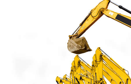 Backhoe with hydraulic piston arm isolated on white background. Backhoe bucket loading soil. Digger machine. Hydraulic machinery. Bulldozer or excavator machine. Excavator for sale and rent business. Stock fotó