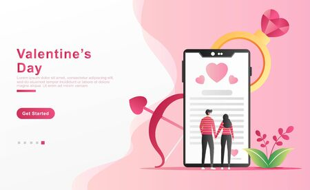 Vector illustration valentine. a man proposes his lover by reading a love letter through a smartphone while holding hands, ring diamonds shape of hearts, plants. for banner, ui ux. flat cartoon style Ilustração